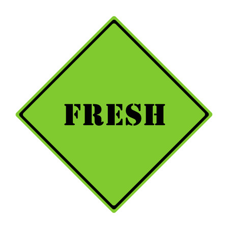A green and black diamond shaped road sign with the word FRESH making a great concept. Stock Photo