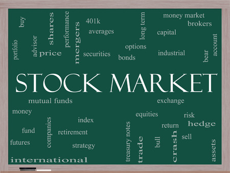 Stock Market Word Cloud Concept on a Blackboard with great terms such as exchange, risk, funds, money and more. photo
