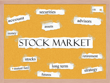Stock Market Corkboard Word Concept with great terms such as advisors, strategy, assets and more. photo