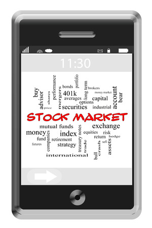 Stock Market Word Cloud Concept of Touchscreen Phone with great terms such as assets, stocks, fund and more. photo