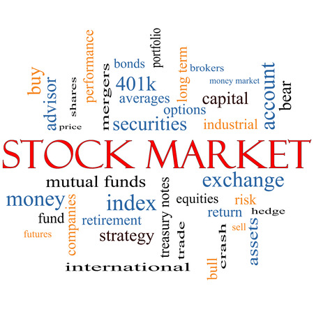 Stock Market Word Cloud Concept with great terms such as exchange, risk, funds, money and more. photo