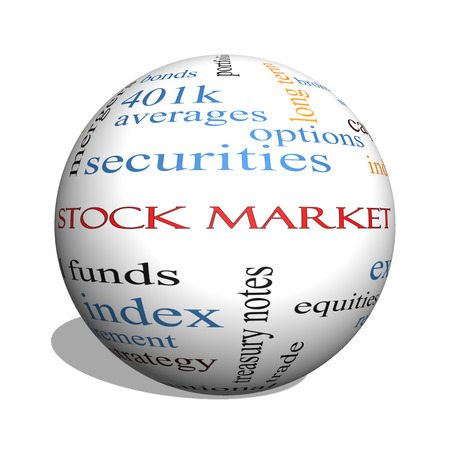 Stock Market 3D sphere Word Cloud Concept with great terms such as exchange, risk, funds, money and more. photo