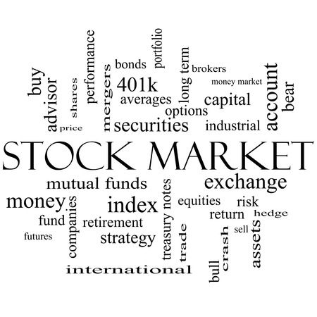 sell shares: Stock Market Word Cloud Concept in black and white with great terms such as exchange, risk, funds, money and more. Stock Photo