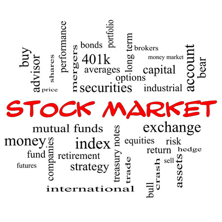 brokers: Stock Market Word Cloud Concept in red caps with great terms such as exchange, risk, funds, money and more.