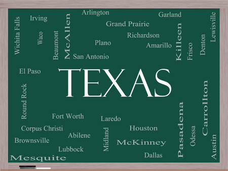 plano: Texas State Word Cloud Concept on a Blackboard with about the 30 largest cities in the state such as Houston, Dallas, San Antonio and more.