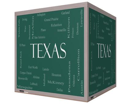 テキサス州単語ヒューストン, ダラス, San Antonio など状態で 30 の大都市についての 3 D キューブで黒板に雲概念。