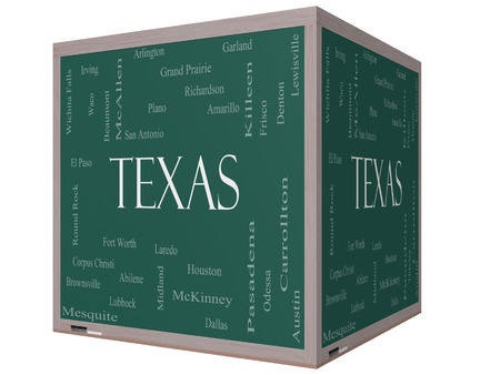 plano: Texas State Word Cloud Concept on a 3D cube Blackboard with about the 30 largest cities in the state such as Houston, Dallas, San Antonio and more.