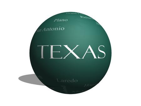テキサス州ヒューストン、ダラス、サンアントニオなど 30 の大都市の 3 D 球とともに黒板に状態の単語のクラウドのコンセプト。