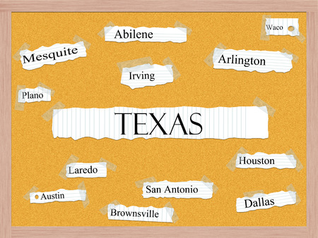 plano: Texas State Corkboard Word Concept with great cities listed such as Houston, Dallas, Austin and more.