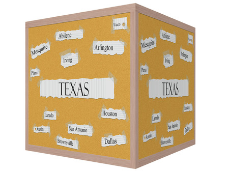 Texas State 3D cube Corkboard Word Concept with great cities listed such as Houston, Dallas, Austin and more.