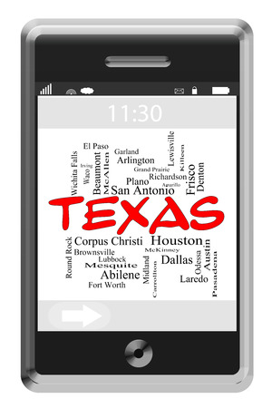 plano: Texas State Word Cloud Concept of Touchscreen Phone with cities listed such as Austin, Dallas, Houston and more. Stock Photo