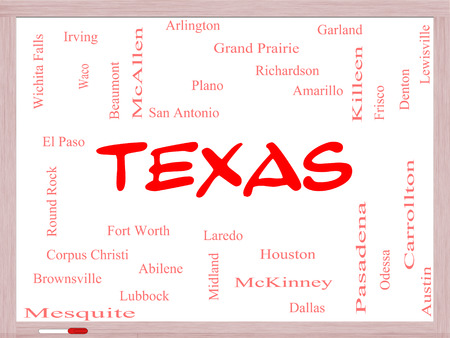 plano: Texas State Word Cloud Concept on a Whiteboard with about the 30 largest cities in the state such as Houston, Dallas, San Antonio and more.