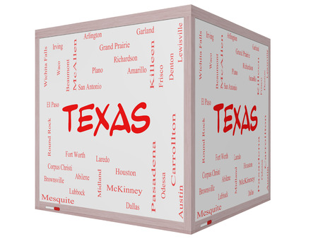 plano: Texas State Word Cloud Concept on a 3D cube Whiteboard with about the 30 largest cities in the state such as Houston, Dallas, San Antonio and more.