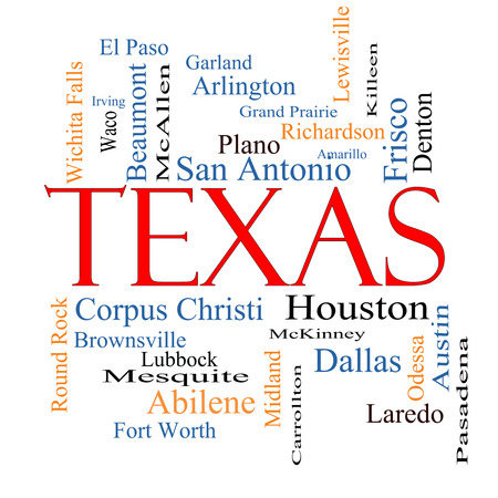 plano: Texas State Word Cloud Concept with about the 30 largest cities in the state such as Houston, Dallas, San Antonio and more.