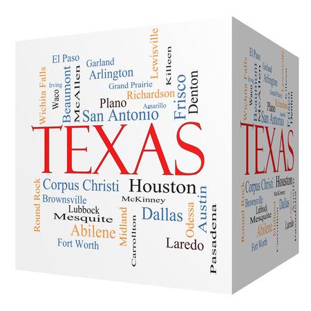 州ヒューストン, ダラス, San Antonio など 30 の大都市のテキサス州の 3 D キューブの単語クラウド コンセプト。 写真素材