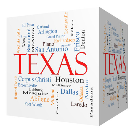 Texas State 3D cube Word Cloud Concept with about the 30 largest cities in the state such as Houston, Dallas, San Antonio and more. photo