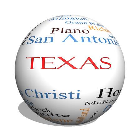 ヒューストン, ダラス, San Antonio など状態で 30 の大都市についてテキサス州の 3 D 球の Word のクラウド コンセプト。