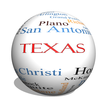 plano: Texas State 3D sphere Word Cloud Concept with about the 30 largest cities in the state such as Houston, Dallas, San Antonio and more. Stock Photo