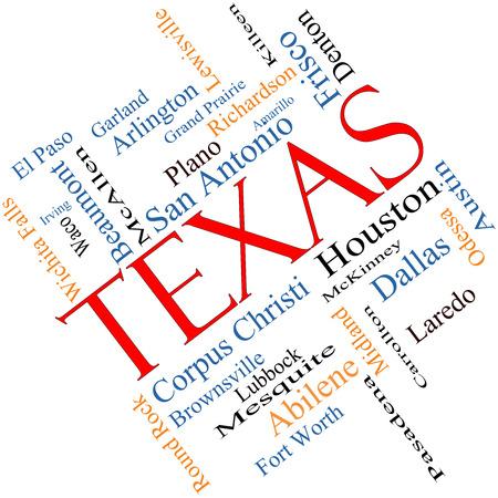テキサス州単語雲概念角度が付いている 30 の最大の都市のヒューストン、ダラス、San Antonio など状態について。