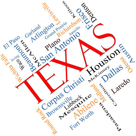 plano: Texas State Word Cloud Concept angled with about the 30 largest cities in the state such as Houston, Dallas, San Antonio and more. Stock Photo