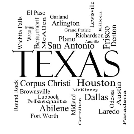 plano: Texas State Word Cloud Concept in black and white with about the 30 largest cities in the state such as Houston, Dallas, San Antonio and more.