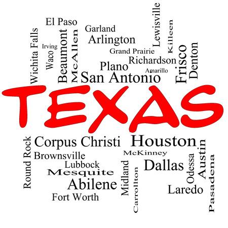 テキサス州ヒューストン、ダラス、サンアントニオなど 30 の大都市についての赤い帽子の状態の単語のクラウドのコンセプト。