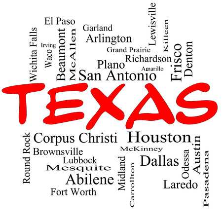 plano: Texas State Word Cloud Concept in red caps with about the 30 largest cities in the state such as Houston, Dallas, San Antonio and more.