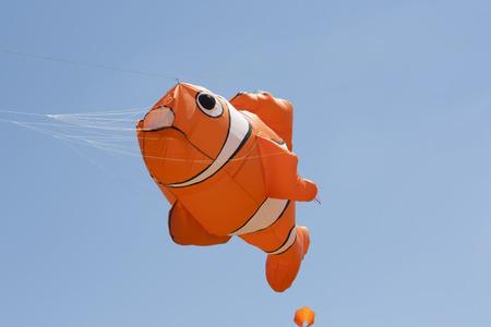 OSHKOSH, WI - JUNE 20:  Orange and White Nemo Clownfish Kite flys high in the sky at the Kite Festival June 20, 2009 in Oshkosh, Wisconsin.
