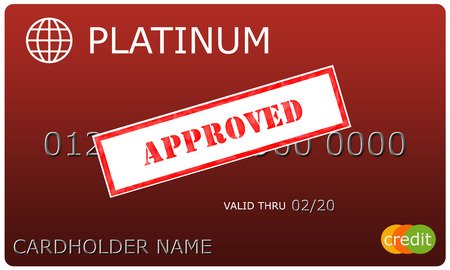 An imitation Platinum red Credit Card with an Approved sticker over the numbers making a great concept.