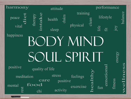 Body Mind Soul Spirit Word Cloud Concept on a Blackboard with great terms such as harmony, life, sleep, fit and more.