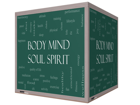 Body Mind Soul Spirit Word Cloud Concept on a 3D cube Blackboard with great terms such as harmony, life, sleep, fit and more.