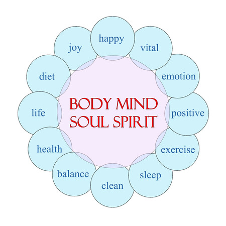 Body Mind Soul Spirit concept circular diagram in pink and blue with great terms such as happy, vital, emotion and more. Stockfoto