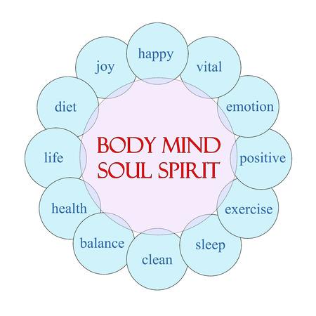 mind body soul: Concetto Body Mind Anima Spirito diagramma circolare in rosa e blu con i termini del calibro di Felice, vitale, emozione e pi�. Archivio Fotografico