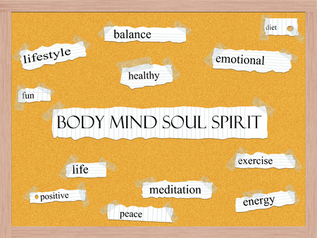 Body Mind Soul Spirit Corkboard Word Concept with great terms such as balance, diet, life and more.