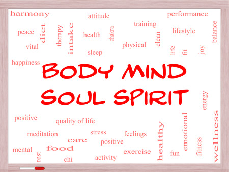 physical activity: Body Mind Soul Spirit Word Cloud Concept on a Whiteboard with great terms such as harmony, life, sleep, fit and more. Stock Photo