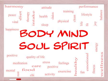 actividad fisica: Mind Body Spirit Soul Palabra Nube Concepto en una pizarra con los términos de la talla armonía, la vida, el sueño, en forma y más.