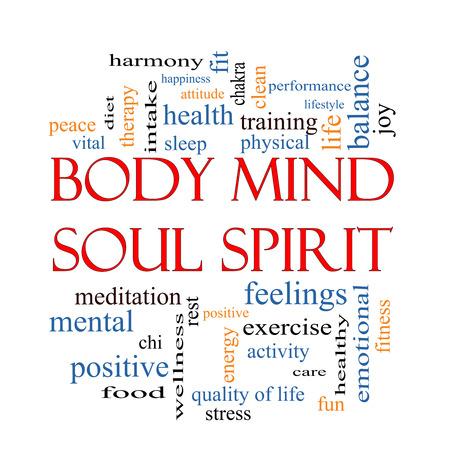 feeling positive: Body Mind Soul Spirit Palabra Nube Concepto con los t�rminos tales como la armon�a, la vida, el sue�o, en forma y m�s. Foto de archivo