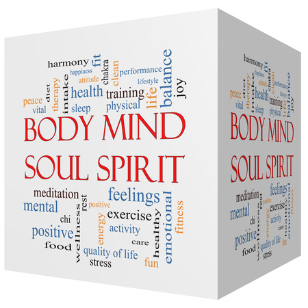 physical training: Body Mind Soul Spirit 3D cube Word Cloud Concept with great terms such as harmony, life, sleep, fit and more. Stock Photo