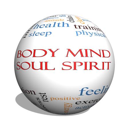 harmony: Body Mind Soul Spirit 3D esfera Palabra Nube Concepto con los t�rminos tales como la armon�a, la vida, el sue�o, en forma y m�s. Foto de archivo