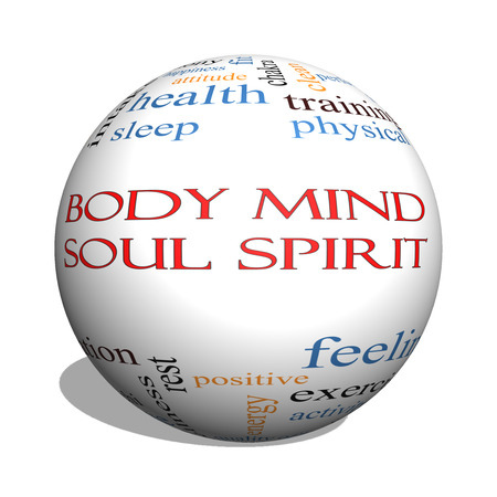Body Mind Soul Spirit 3D sphere Word Cloud Concept with great terms such as harmony, life, sleep, fit and more.