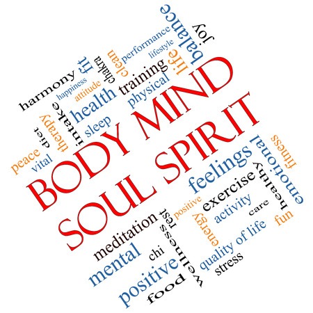 Body Mind Soul Spirit Word Cloud Concept angled with great terms such as harmony, life, sleep, fit and more.