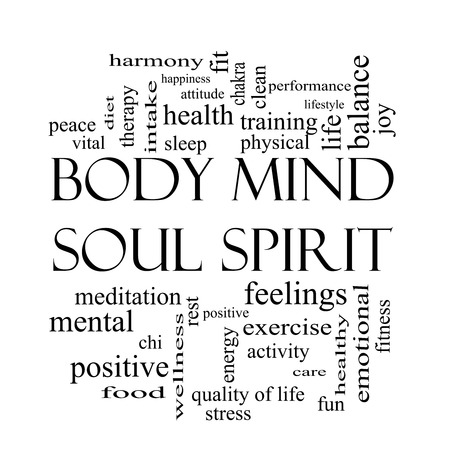 Body Mind Soul Spirit Word Cloud Concept in black and white with great terms such as harmony, life, sleep, fit and more. Stock Photo
