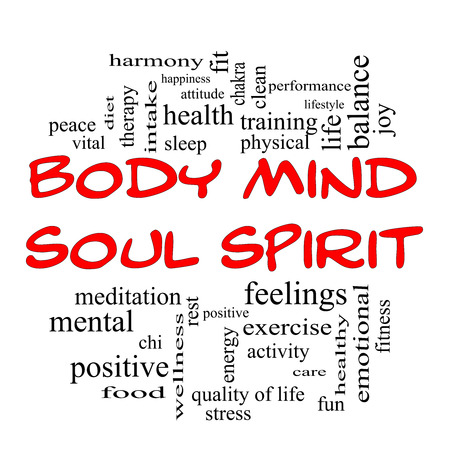 Body Mind Soul Spirit Word Cloud Concept in red caps with great terms such as harmony, life, sleep, fit and more.