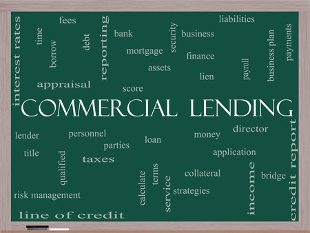 Commercial Lending Word Cloud Concept on a Blackboard with great terms such as loan, fees, business plan and more. Stock Photo