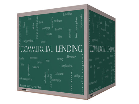 Commercial Lending Word Cloud Concept on a 3D cube Blackboard with great terms such as loan, fees, business plan and more. photo