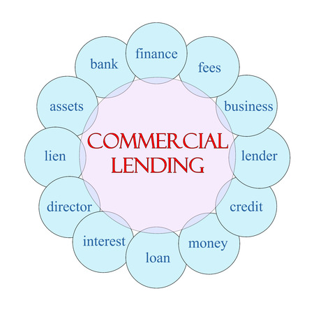 Commercial Lending concept circular diagram in pink and blue with great terms such as finance, fees, lender and more. Stock Photo