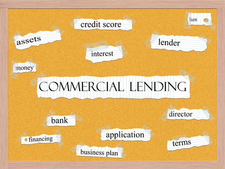 lien: Commercial Lending Corkboard Word Concept with great terms such as lender, lien, bank and more.