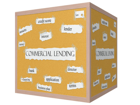 lien: Commercial Lending 3D cube Corkboard Word Concept with great terms such as lender, lien, bank and more. Stock Photo