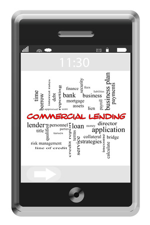 Commercial Lending Word Cloud Concept of Touchscreen Phone with great terms such as lender, lien, bank and more. Stock Photo
