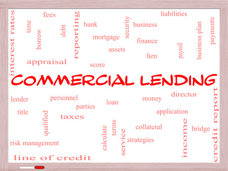 Commercial Lending Word Cloud Concept on a Whiteboard with great terms such as loan, fees, business plan and more.